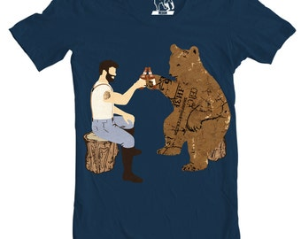 Mens Having a Bear T-Shirt, Men's Beer Shirts, Funny Graphic Tee Shirt Gift For Him, Sizes S - 2XL
