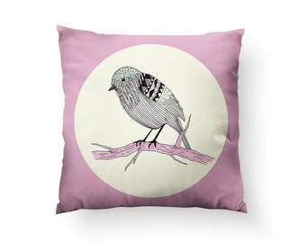 Lil Sparrow Throw Pillow, With or Without Insert - Made in USA