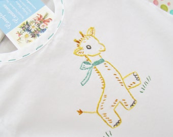 Gerry Giraffe Romper - Hand Embroidered Vintage Style Romper