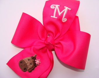 Large Monogrammed, Initial Horse, Hair Bow, Embroidered Big, Huge Hairbows, Equestrian Pink, Gymboree Bows, m2m Size, Pony Kids, School Idea