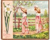 Vintage Easter Kate Greenaway Decorative Scrap / Card