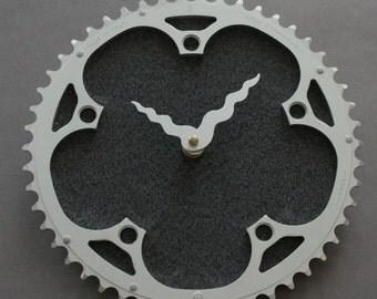 Bicycle Gear Clock - Campagnolo Gray  |  Bike Clock  | Wall Clock | Recycled Bike Parts Clock