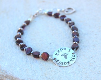 Sterling Silver Beaded Gemstone Hand Stamped Medical Alert Bracelet