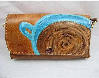 Leather Clutch Purse - Coffee - The Bean