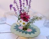 antique lace ikebana vase . handmade ceramic pottery