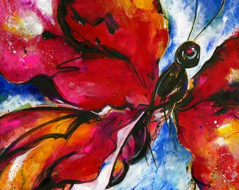 "Red Butterfly Painting, Large Red Abstract Canvas, Art, ""Joyful Ecstasy No 1"" Original Colorful Contemporary by Kathy Morton Stanion EBSQ"