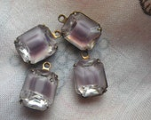 Amethyst Moonstone Givre 10x8mm Glass Brass Ox Octagon Drops 4 Pcs