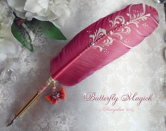 BUTTERFLY Magick Totem Feather Quill Pen Writing Set