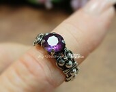 Solid Sterling Silver Alexandrite Hand Crafted Wire Wrapped Ring Orignal Signature Design Fine Jewelry June Birthstone