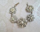White or Ivory Pearl bracelet wedding Jewelry crystal Bridal statement bracelet silver jewelry  bridal Bracelet Bridesmaid Gift idea