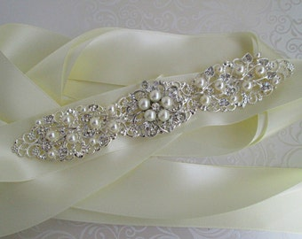 Pearl wedding sash bridal belt Crystal wedding dress sash Silver bridal belt crystal ivory sash Rhinestone ribbon sash jeweled