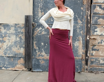 Hemp Stretchy Simplicity Long Skirt - ( light hemp and organic cotton Lycra) - organic skirt :