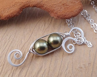 Pea Pod Necklace - Green Pearl Necklace - Two Peas in a pod Jewelry - Silver Peapod Necklace