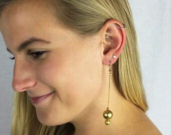 Gold Bead & Chain Asymmetrical Dangle Earrings