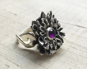 Chrysanthemum Ring- Rose Cut Amethyst and Sterling Silver