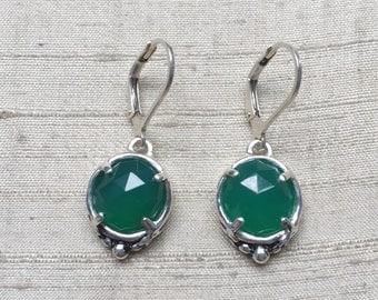 Rose Cut Green Onyx Leaf Earrings