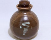 Pottery Canister for Coffee beans, Grains or Rice Lidded Jar in Brown and Vanilla with a hint of Olive Green VINTAGE