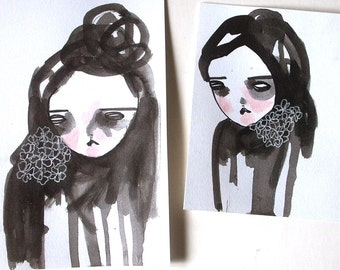 set of two original small drawings on paper- misery and company