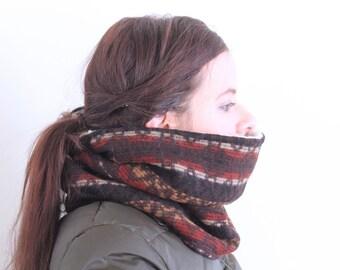 Sherpa Fleece Lined Vermont Wool Scarf Cowl Neckwarmer Tribal Pattern Brown Black Gold Maroon Warm Cozy Winter // by Nicoles Threads
