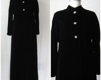Velvet Coat 60s 70s Maxi Coat Long Black Coat Opera Coat with Rhinestone Buttons