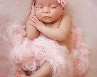 Dusty Rose Photography Prop Baby Blankets Pale Pink Newborn Photo Prop