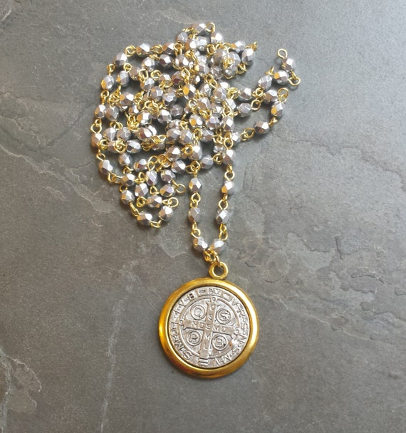 Long Coin Necklace, Long Pendant Necklace, Silver and Gold Chain Necklace, Silver Gold Medallion Necklace Medieval St. Benedict Medal