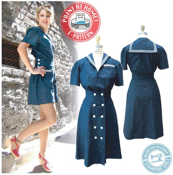40s-50s Vintage Playsuits, Jumpsuits, Rompers History 1940s Sailor Girl Play Suit- Blouse Shorts Skirt- Wearing History PDF Sewing Pattern $16.00 AT vintagedancer.com