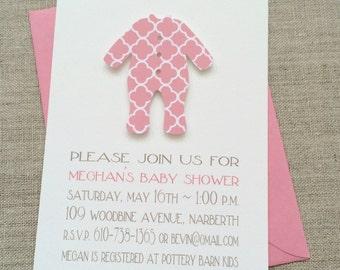 Baby Girl Sleeper, Baby Shower Invitation