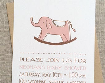 printable baby girl baby elephant baby shower invitation