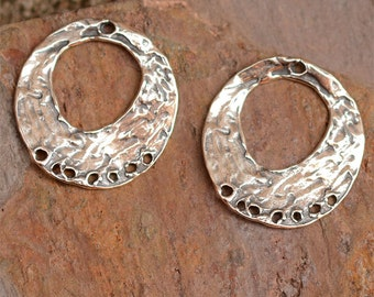 Bohemian Style Round Earring Findings with 7 Holes in Sterling Silver, One Pair, E-98,