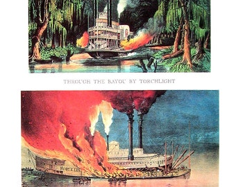 Currier and Ives Print - Through the Bayou by Torchlight, Burning of the Palace Steamer Robert E Lee - 1968 Vintage Book Page - 12 x 9