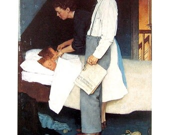 Freedom from Fear - Norman Rockwell Art - 1993 Vintage Book Page - Reproduction Print - 10 x 12