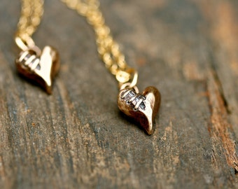 Sutured Heart Necklace Bronze Gold Filled Chain Free Domestic Shipping