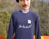 80s vintage sweatshirt you CAN DO it! weight watchers diet fitness raglan Medium blue crewneck