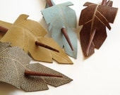 Feather Hair Stick Barrette - Eco Friendly Leather