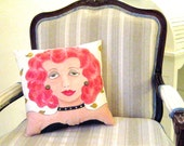 ROXANNE SOFA PILLOW, hand painted pillow, 12 in X 12 in., wavy red hair, rhinestones, decorative sofa pillow, little black dress