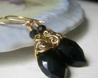 Black Spinel Earrings, Gold Filled Earrings, Everyday Black Earrings, Briolette Gemstone Earrings, Black Dangle Earrings, Marquis Gemstone