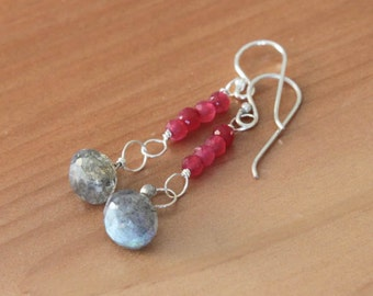 Sterling Silver Earrings with Wire Wrapped Labradorite and Pink Quartz Gemstones - Ainsley // F183