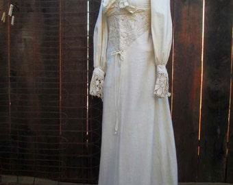 Corset 70s boho dress Vintage Cream Lace Dress Corset tie Festival dress beach maxi dress Vintage Wedding Beach Bride S