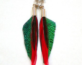Tropical Peacock Feather Earrings with Surgical Steel Posts- Ready to Ship