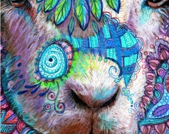 original art  drawing 16x20  Sheep Boob colorful lamb zentangle