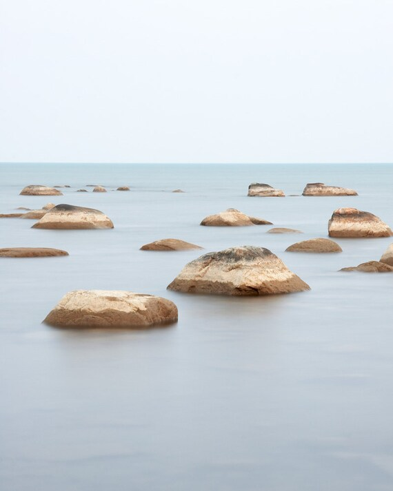 Modern Minimalist Beach Rocks in Water Photograph - Large Living Room Art Prints - Zen Wall Art - Blue Seascape - Nautical Coastal Decor