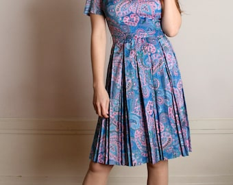 Vintage 1960s Dress - Paisley Print Turquoise Day Dress - Medium