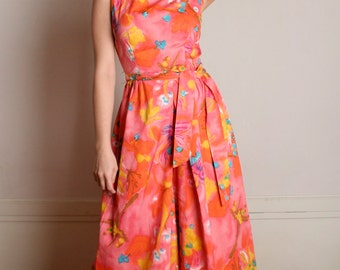 Vintage 1960s Jumpsuit - Neon Psychedelic Print Floral Sorbet Outfit - Medium
