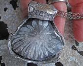 sacred stone primitive pendant with chrysanthemum stone
