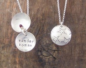Star, Wonder Woman, Clamshell necklace using Recycled Sterling Silver