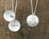 Star, Reach, Clamshell necklace using Recycled Sterling Silver