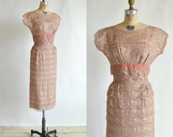 1950s Lace Cocktail Dress --- Vintage Ferman O'Grady Dress