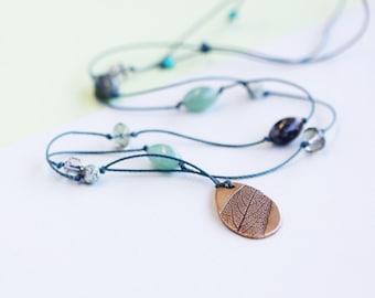 leaf necklace, long necklace, bronze pendant, green jewellery, sage pendant, calleis