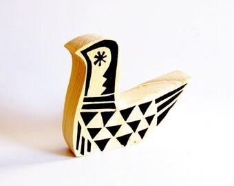 Hand Cut and  Screenprinted   Retro Wooden Bird